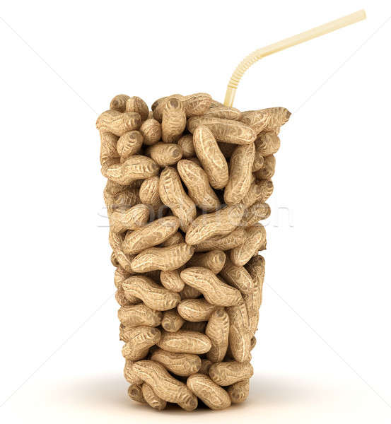 Glass shape assembled of peanuts with straw Stock photo © Arsgera