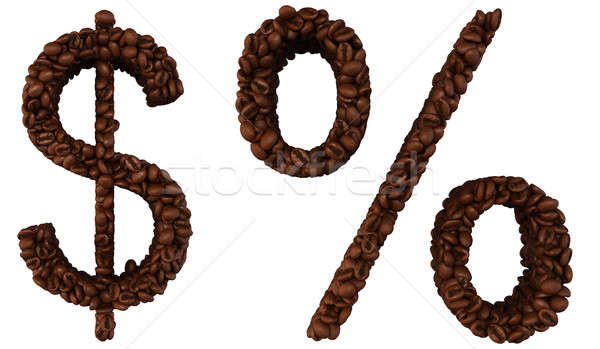 Stock photo: Coffee font US dollar currency and percent symbol