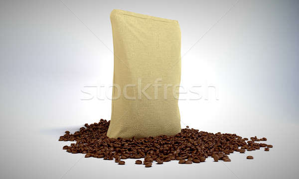 Sacking Pack and coffee beans over grey Stock photo © Arsgera