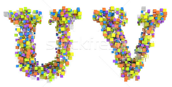 Abstract cubic font U and V letters Stock photo © Arsgera