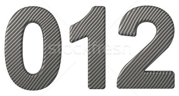 Carbon fiber font 0 1 2 numerals isolated Stock photo © Arsgera