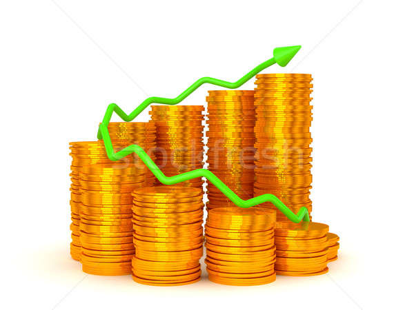 Earnings and success: green graph over coins stacks  Stock photo © Arsgera