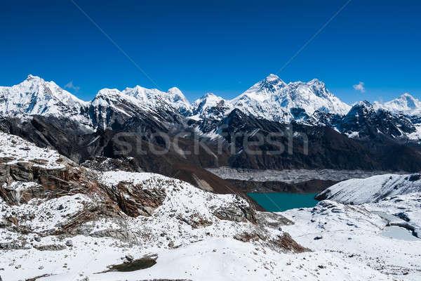 Famous peaks view from Renjo Pass: Everest, Pumori, Makalu Stock photo © Arsgera