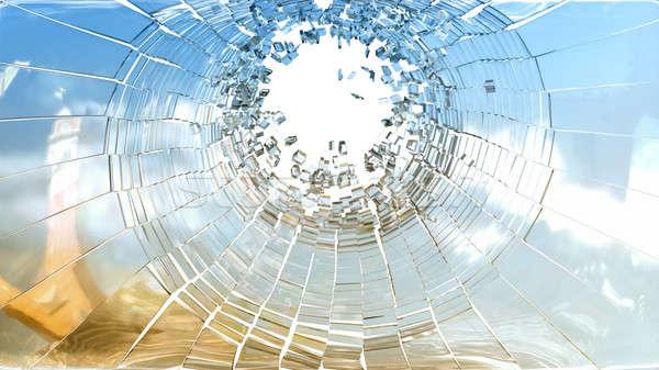 Buraco de bala peças vidro quebrado branco céu abstrato Foto stock © Arsgera