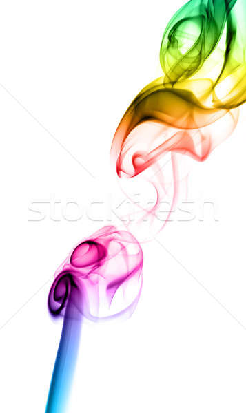 Gradient colored fume shape on white Stock photo © Arsgera