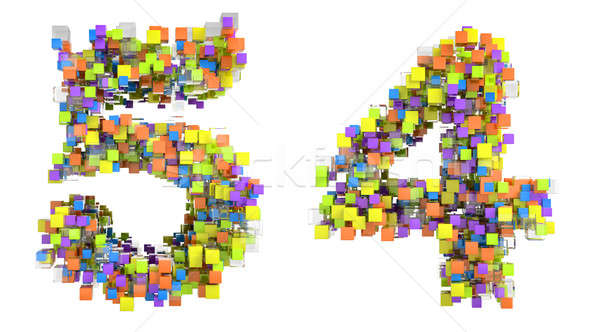 Abstract cubic font 4 and 5 figures  Stock photo © Arsgera