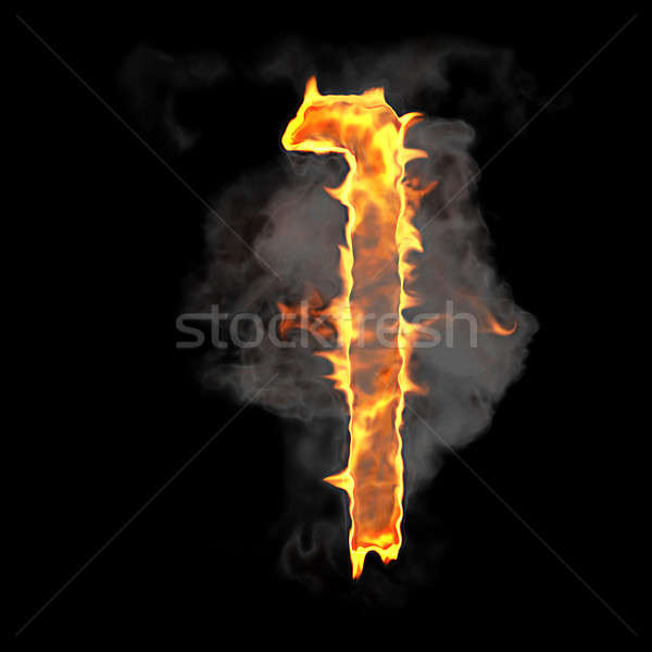Burning and flame font 1 numeral Stock photo © Arsgera