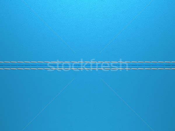 Blue horizontal stitched leather background Stock photo © Arsgera