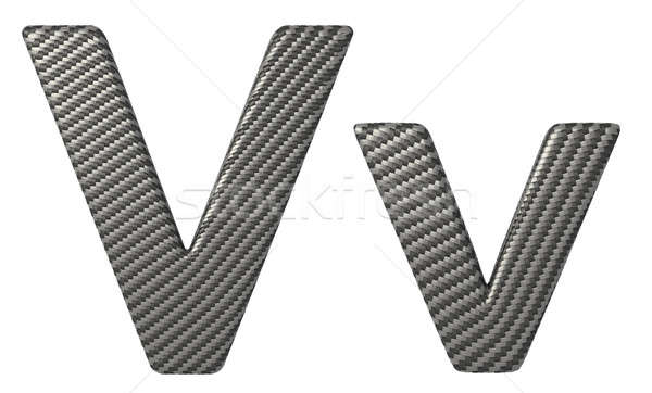 Carbon fiber font V lowercase and capital letters Stock photo © Arsgera