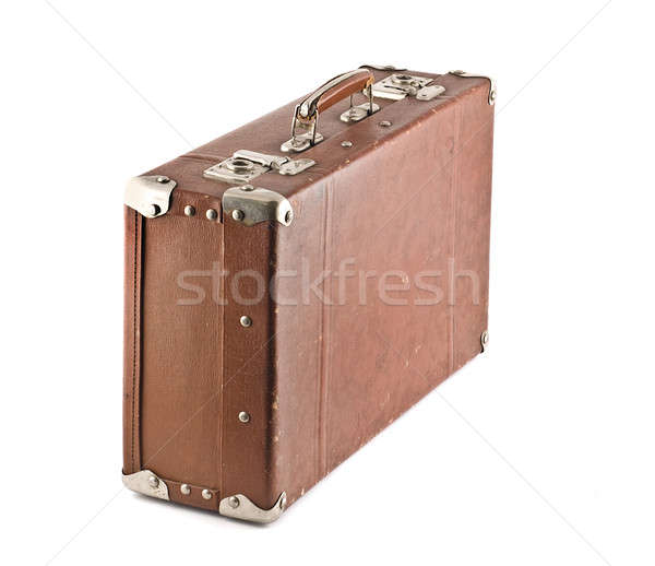 Old-fashioned scratched suitcase isolated Stock photo © Arsgera