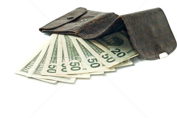 Сток-фото: доллара · бумажник · старые · кожа · бизнеса