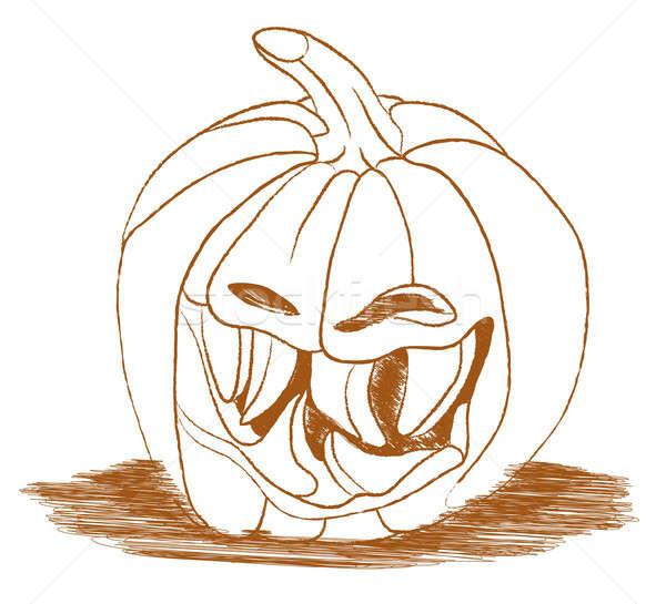 Smiley scary Halloween pumpkin isolated on white Stock photo © Arsgera