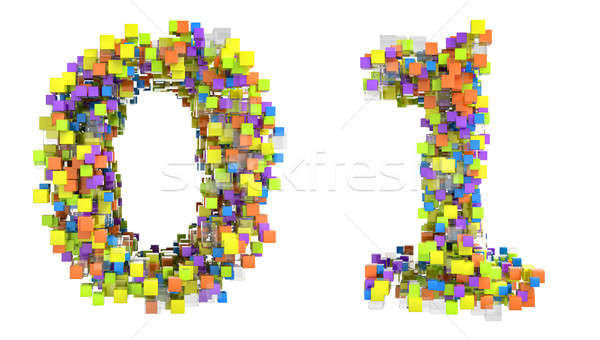 Abstract cubic font 0 and 1 figures Stock photo © Arsgera