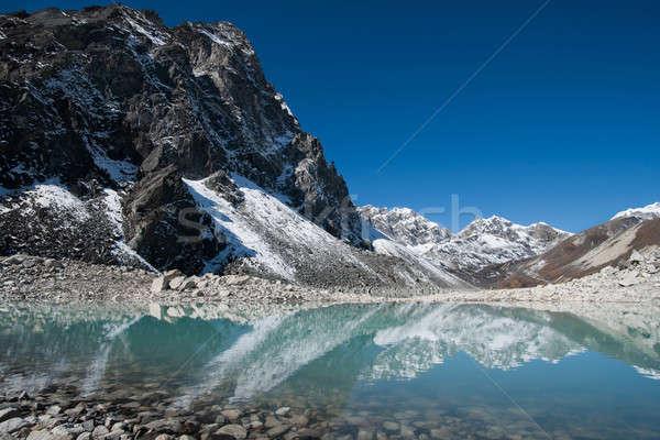 Mountain peaks and reflection in Sacred Gokyo Lake in Himalayas Stock photo © Arsgera