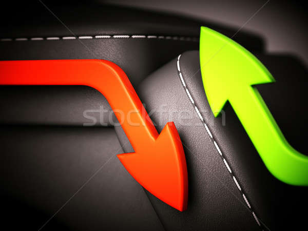 Red and green arrows over black leather blocks: growth and decli Stock photo © Arsgera