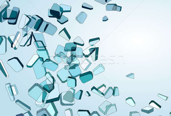 Shattered and damaged pieces of blue glass Stock photo © Arsgera