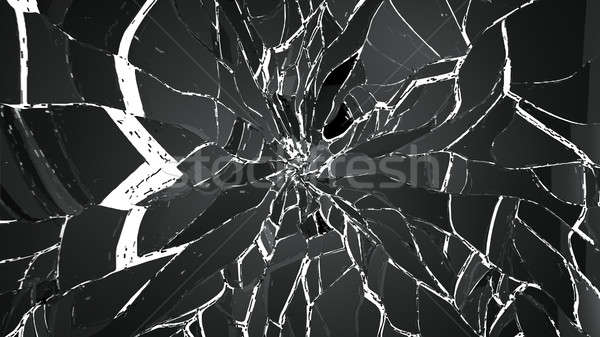 Shattered small and large pieces glass on white Stock photo © Arsgera