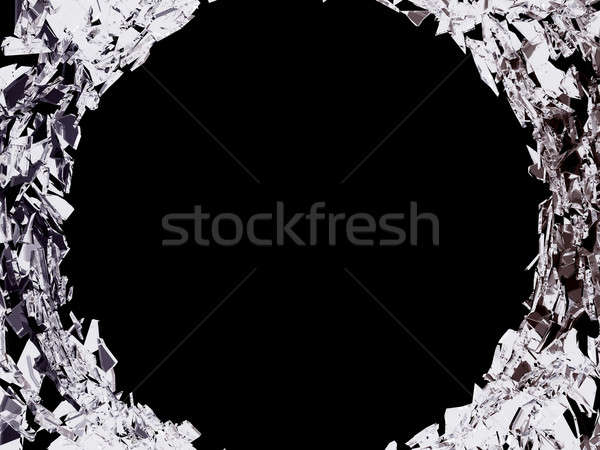 Big bullet hole and shattered glass on black Stock photo © Arsgera
