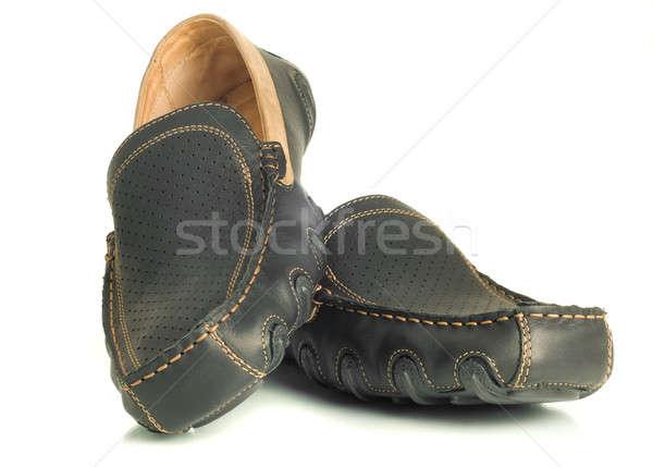 Modern footwear Black mens shoes moccasins Stock photo © Arsgera