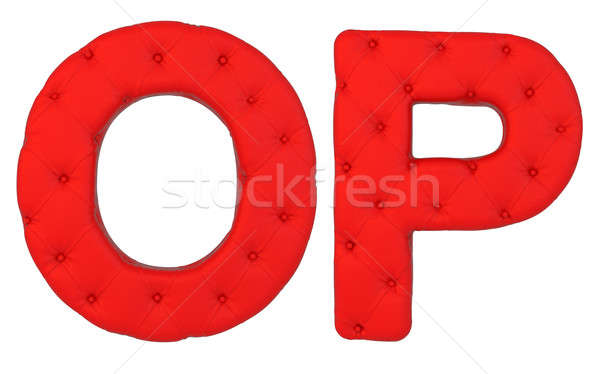 Stock photo: Luxury red leather font O P letters