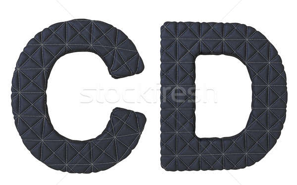 Luxury black stitched leather font C D letters Stock photo © Arsgera