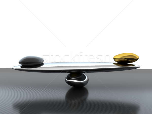 Balance: scales with carbon fiber shape and gold  Stock photo © Arsgera