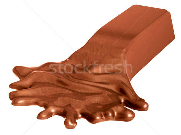 Melted chocolate bar isolated on white Stock photo © Arsgera