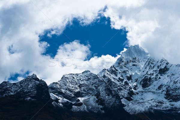 Berg himalayas hemel landschap sneeuw ijs Stockfoto © Arsgera