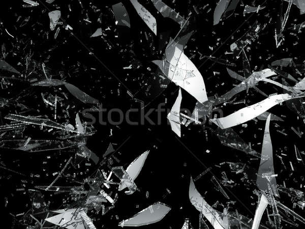 Shattered or damaged pieces of glass isolated Stock photo © Arsgera