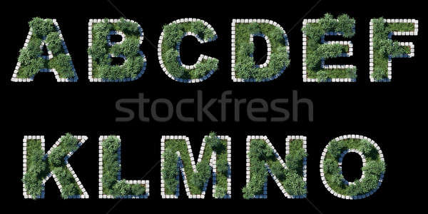 green park font with grey cubing border on black Stock photo © Arsgera