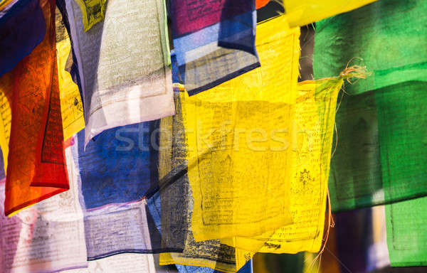 Colorful buddhist Prayer flags with mantras Stock photo © Arsgera
