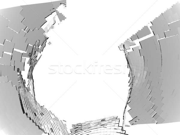 Destructed or Shattered grey glass isolated over white Stock photo © Arsgera