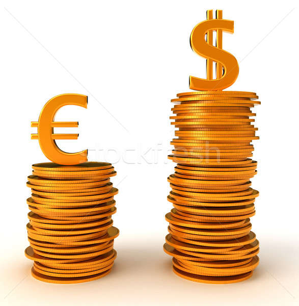 Ventaja dólar euros moneda blanco metal Foto stock © Arsgera