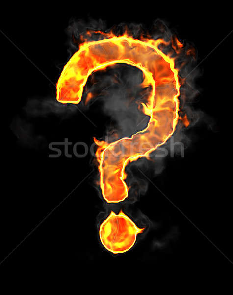 Burning and flame font query mark Stock photo © Arsgera