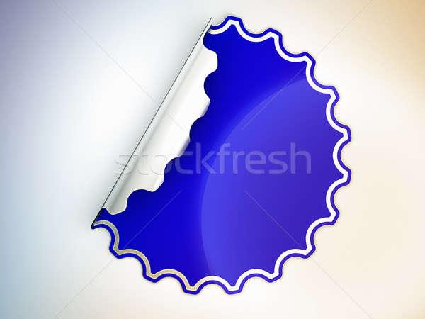 Blue round jagged sticker or label Stock photo © Arsgera