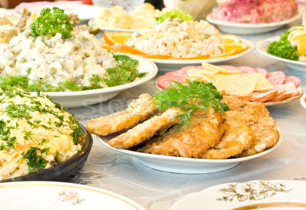 Chops and cutlets. Banquet in the restaurant Stock photo © Arsgera