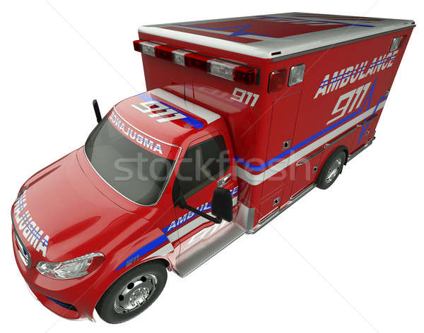 Pogotowia górę widok z boku służby ratunkowe pojazd odizolowany Zdjęcia stock © Arsgera