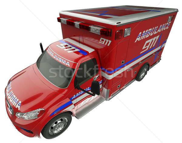 Ambulancia superior vista lateral servicios de emergencia vehículo aislado Foto stock © Arsgera