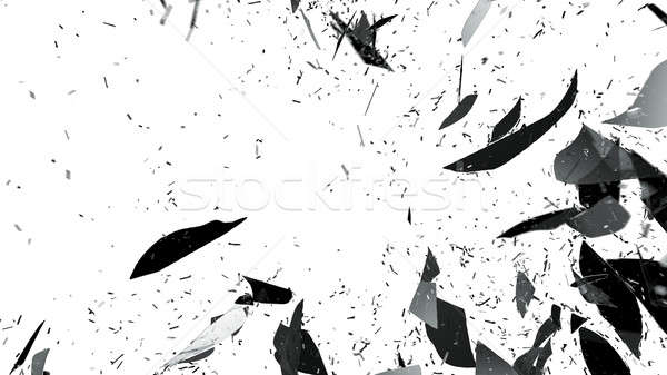 Broken and Shattered glass on white Stock photo © Arsgera