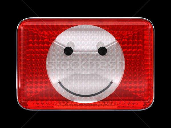 Emotikon emotikon piros gomb fényszóró izolált Stock fotó © Arsgera