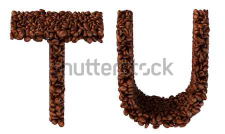 Coffee font T and U letters isolated Stock photo © Arsgera