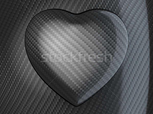 Love: Carbon fibre heart shape Stock photo © Arsgera