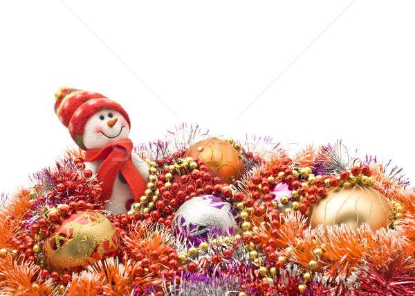 Foto d'archivio: Natale · capodanno · divertente · bianco · pupazzo · di · neve · decorazione