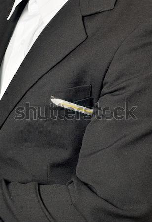 Illness - Sick businessman with thermometer Stock photo © Arsgera
