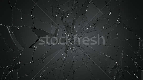 Shattered or destructed glass on black Stock photo © Arsgera