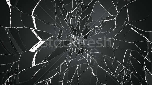 splitted or shatterd glass on black Stock photo © Arsgera