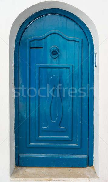 Azul porta ornamento arco parede rua Foto stock © Arsgera
