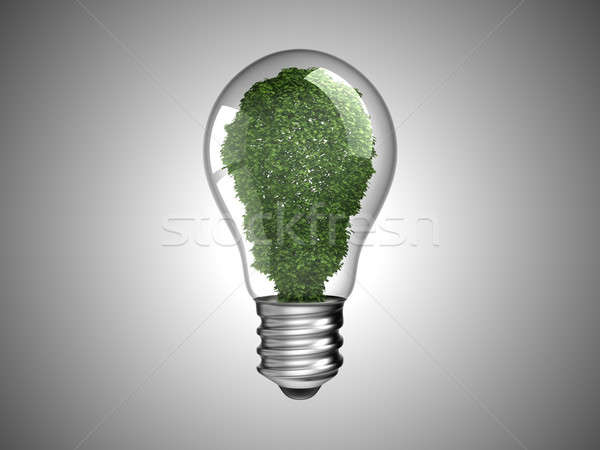 Stock photo: Renewable energy. Lightbulb with green plant