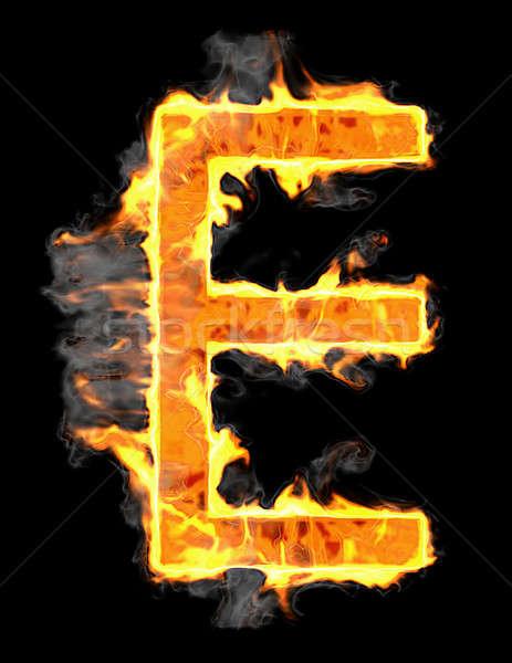 Burning and flame font E letter Stock photo © Arsgera