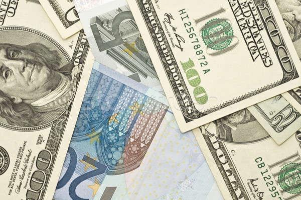 US dollar and Euro banknotes Stock photo © Arsgera